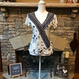 NWT Lucky Brand Petite Wrap Blouse Top Size Small